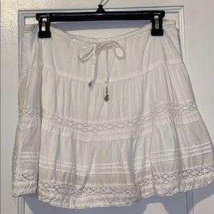 White Short Skirt with Crochet Detail